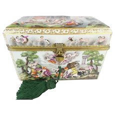 """9 ½"""" Antique Capodimonte Casket Hinged Box """"THE BEST! """" Putti, Dogs, Horses, Boar  ~ A Capodimonte BEAUTY From my Treasure Vault"""