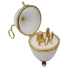 Palais Royal Jeweled Opaline Etui Egg ~  Five Tiny Gilt Pieces ~ Large Snow Flake Gilt Ormolu with the Original Finger Ring