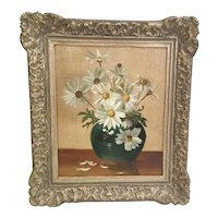"""Wonderful Oil Painting on Canvas """"Daisies in a Vase""""  ~ Nice  Ornate 2 ½"""" Gilding Frame"""
