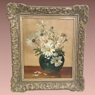 "Wonderful Oil Painting on Canvas ""Daisies in a Vase""  ~ Nice  Ornate 2 ½"" Gilding Frame"