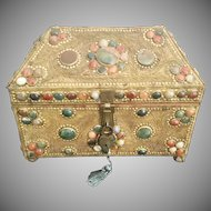 Giant Jeweled Casket Hinged Box ~ Dome Top Casket Hinged Box Covered in Ornate Gilt Lacey Ormolu and Assorted Color Agate Gems ~ Resting on Claw Feet