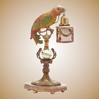 RARE  Parrot Lamps #1 ~  Cold Painted Cast Metal Parrot Lamp with a Cage Shade