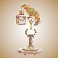RARE  Parrot Lamps #2 ~ A Cold Painted Cast Metal Parrot Lamp with a Cage Shade ~ AWESOME COLORS