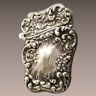 "Beautiful Ornate Match Safe Vesta with ""H"" Monogram  ~ Stamped Sterling"