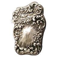 "Beautiful Ornate Match Safe Vesta with ""H"" Monogram  ~ Stamped Sterling"