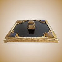 Grandest Antique Austrian Jeweled & Enamel Hand Mirror ~ Gems, Enamel and Black Glass ~ IT IS A BEAUTY!