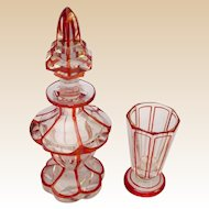Antique Bohemian Red Cut to Clear Miniature Decanter and Glass ~  Superior Quality and Rare Little Set
