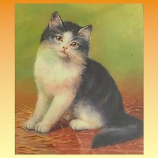 Charming Cat Hinged Gilt Silver Cigarette/ Card Case Hinged Box ~ DARLING CAT.
