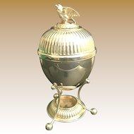 Vintage Estate English Silver Egg Coddler Server ~  Bird Finial  ~  Walker & Hall Sheffield  England