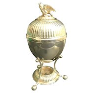 Vintage Estate English Silver Egg Coddler Server ~  Bird Finial  ~  Walker & Hall Sheffield  England