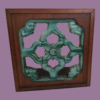 19C Antique Chinese Roof Tile # 1 ~  Luscious Color Roof Tile  Framed in  Dark Wood