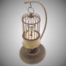 "German ""Kaiser"" Rotating Brass Bird Clock with Stand …AS IS!"