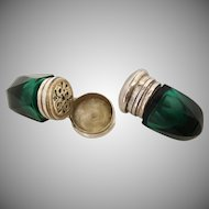 Majesty Antique English Emerald Green Cut Glass Vinaigrette ~ A BEAUTY from My Treasure Vault