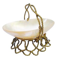 Antique Mother of Pearl Thimble Holder Trinket Basket ~ A Large Luminous Mother of Pearl Shell Nestled in a Beautiful Twisted Gilt Ormolu  and Ornate Handle
