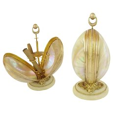"""9""""  Palais Royal Mother of Pearl Cigar Holder ~ BIG and BEAUTIFUL ~ Twin GIANT Mother of Pearl Shells Resting on an Ornate Fancy Alabaster Plinth"""