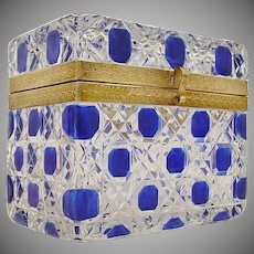 RARE Antique Baccarat Cobalt Cut to Clear Casket ~ Stunning Ornate Mounts and Clasp ~ BEAUTIFUL