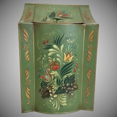 "1950  19 ½""  Tole Tin  Box  ~ ""Grandest Green""  ~ Terrific Size and Shape~ MASTERPIECE"