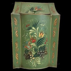 "1950  19 ½""  Tole Tin  Box  ~ ""Grandest Green""  ~ Terrific Size and Shape~ MASTERPIECE"