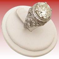 4.85 carat Brilliant Cut Diamond Platinum Diamond Ring ~ Antique Style 4.85 carat Diamond set in a Diamond 1.05 carat Ring