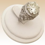 4.85 carat Brilliant Cut Diamond Platinum Diamond Ring ~ Antique Style 4.85 carat Diamond set in a Diamond 1.05 carat Ring