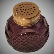 Antique English Purple Cut Glass Vinaigrette ~ Exquisite Purple Cut Crystal  Bottle with a Gilt Silver Vinaigrette Top ~  An AWESOME Cut Crystal Vinaigrette