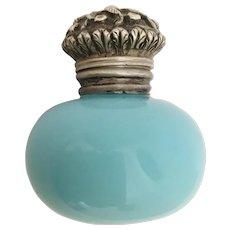 1850 Blue Opaline Vinaigrette ~  Beautiful Ornate Silver Top  and  Exquisite Vinaigrette  Top ~  Wonderful Color Blue Opaline
