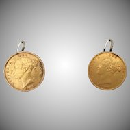 """Gold Sovereign """"Victoria Young Head Shield Back"""" Earrings  """"AS FOUND"""" ~  1877   and 1885"""