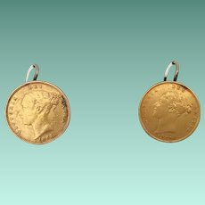 "Gold Sovereign ""Victoria Young Head Shield Back"" Earrings  ""AS FOUND"" ~  1877   and 1885"