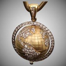 18k Diamond Globe Pendant ~ A Spinning Globe Pendant with 4 Carat Pave Diamonds and Emerald ~ Fine Vintage