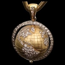 18k Diamond Globe Pendant ~ A Spinning Globe Pendant with 4 Carat Pave Diamonds and Emerald ~ Fine Vintage
