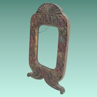 19C  Painted Wood Frame ~ Stunning Carved Wood Frame with  Green, Blue,  and  Red Paint