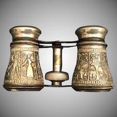 "Vintage Estate Aluminum Opera Glass ""Egyptian Design"" Aluminum with Black Trim"