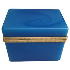 Magnificent  19C  French Blue Opaline Casket Hinged Box ~ Exquisite Gilt Mounts (Greek Key)  In Awesome Deep Rich Blue Opaline  ~ You Must have this BOX!  ~ A BEAUTY from My Treasure Vault