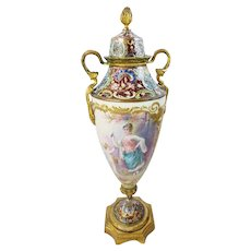 """French Champlevé  Porcelain  """"PUTTI and BIRD""""  Vase ~ HAND PAINTED ~ This Beautiful Vase is artist signed """"Daly""""  ~ The  Base is Stamped """"France"""""""