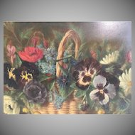 "Charming Oil on Board ""Pansies in a Basket"" ~ L. Williams"