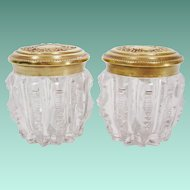 PAIR  19C English Crystal Jars with Fabulous Brass Tops ~   Great Size and Near Pristine Condition ~ BEAUTIFUL