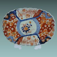 Exquisite Antique  Oblong  Imari Porcelain Scalloped Edge Bowl Plate ~  Pomegranate and Flower Painted Central Reserve ~ RARE & BEAUTIFUL