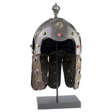 AMAZING Antique Jeweled Chinese Bronze and Leather Helmet ~ Embellished with Red Gems &  Foo Dog Faces ~ Displayed on a Metal Stand