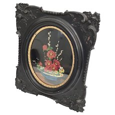 """15"""" 19C Ornate Frame with a Foil Picture ~ A Blue Bowl with Beautiful Flora Arrangement  in an 9 ½"""" x 7 """"  Oval"""