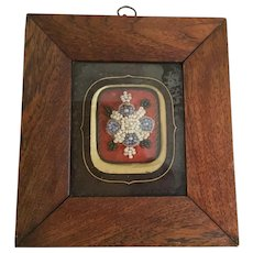 Charming Antique Glass Beaded Picture in a Wood Frame.