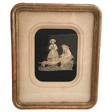 "Antique Silkwork  ""Couple with Dog""  Gilding Frame."