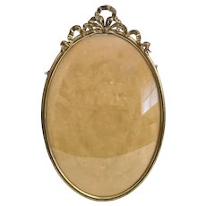 "Large 18"" Oval Brass  Frame  with Convex Glass"