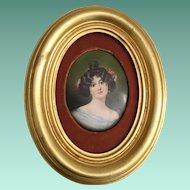 19C Antique Porcelain Portrait Miniature  ~  Nice Gold Leaf Frame