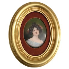 19C Antique Porcelain Portrait Miniature  ~  Nice Gold Leaf Frame