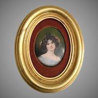 Pretty 19C Antique Porcelain Portrait Miniature   ~  Nice Gold Leaf Frame