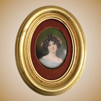 Pretty 19C Antique Porcelain Portrait Miniature   ~  Nice Gold Leaf Frame