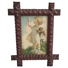 "10"" Tramp Art Frame ~  Adorable Old Print of Child with Rag Doll"