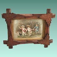 """Antique Hand Carved Wood Frame with a Darling Old Print Card """"Children and  Dog"""""""