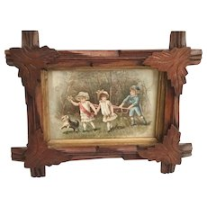 "Antique Hand Carved Wood Frame with a Darling Old Print Card ""Children and  Dog"""