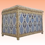 19C French Champlevé Casket Hinged Box  ~ RARE and Wonderful  ~  Exquisite Pattern and the Blues are AWESOME